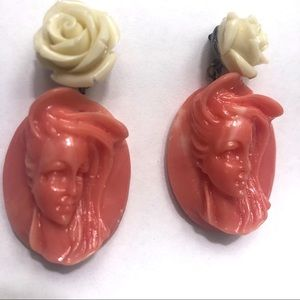 Art Deco portrait lady cameo rose peach pink ivory